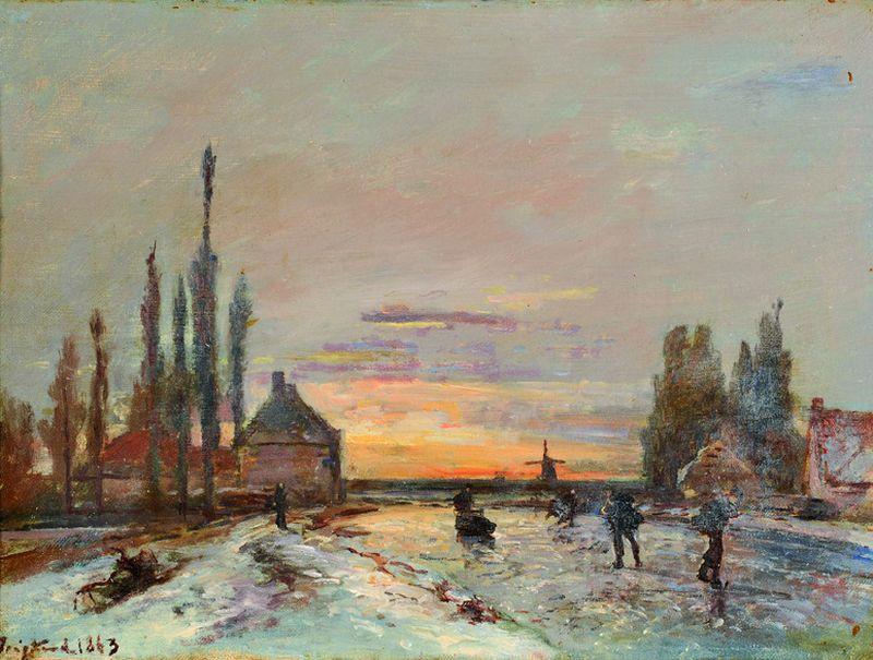 Johan-Barthold JONGKIND 1819 -1891 - Les patineurs au soleil couchant