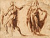 École Italienne du XVIe siècle  Deux personnages  Encre et lavis  11 x 15 cm