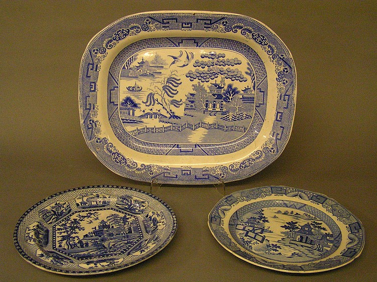 A 19TH CENTURY TWIGG POTTERY MEAT PLATE printed in