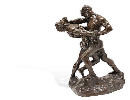 JEF LAMBEAUX (BÉLGICA , 1852 - 1908). LUCHADORES. Bronce, patinado en color marrón. Firmada en base. 71 cm de altura.