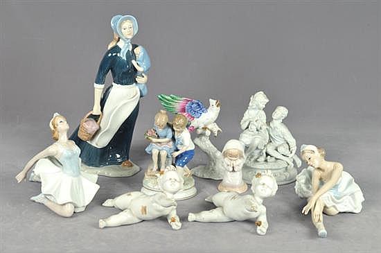 Lote de figuras. Origen mexicana. En porcelana de Cuernavaca, biscuit y brillante. Diferentes diseños y tamaños. Detalles. 9 pz.