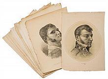 Heroes de la Independencia. Retratos. México, Ca. 1910. Litografías, 57 x 42 cm. (promedio). Piezas: 15.