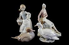 Lote de figuras decorativas. Algunas de origen español. En porcelana Lladró y Dalia, entre otras. 4 pzs