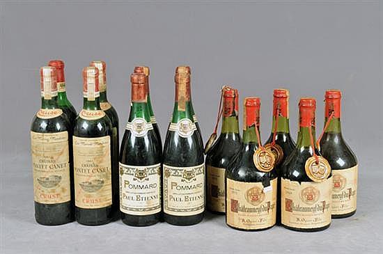 Lote de vino. Marcas: 5 Châteauneuf-du-Pape, 3 Château Pontet Canet, 4 Pommard y 1 Château Lafite-Rothschild. Vinto Tinto. Francia. 13p
