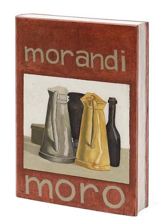MORO, Libro Morandi, Firmado y fechado 2012. Óleo sobre madera, 26 x 19.5 x 4.8 cm, Con certificado de autenticidad.
