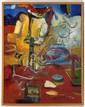MARIO NÚÑEZ GUERRA, En charola, Firmado y fechado 92. Óleo sobre tela, 90 x 70 cm