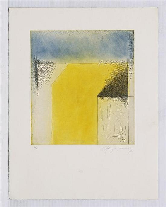 ALBERT RÀFOLS-CASAMADA, Sin título, Firmado y fechado 81. Aguafuerte 70 / 75, 38.5 x 34.5 cm, Con certificado.