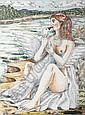 JUAN SORIANO. Alegoría de Leda y el cisne. Firmado.  Plumón sobre papel. 15 x 11.5 cm.