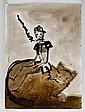 FRANCISCO TOLEDO, Pinocho montando gato, Firmada. Piezografía 21 / 50, 68 x 49 cm