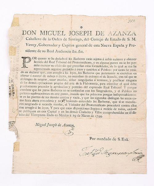 Azanza, Miguel Joseph de. Comunicado. Documento dado en México a 29 de Marzo de 1799.  Recortado y deteriorado en bordes.