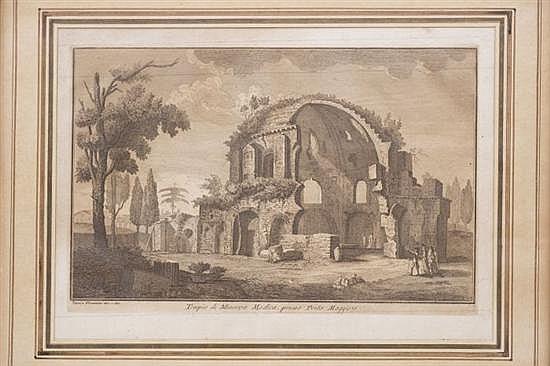 GIUSEPPE VASI Y GIOVANNI BATTISTA PIRANESI (ITALIA, 1720 - 1778). TEMPLO DI MINERVA MEDICA. Grabado. 21 x 32 cm.