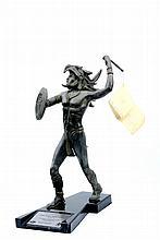 Sophia Hop (México) Caballero Águila. Fundición en bronce patinado. Con base de mármol color negro. Referida en placa. Edición de 25 pi