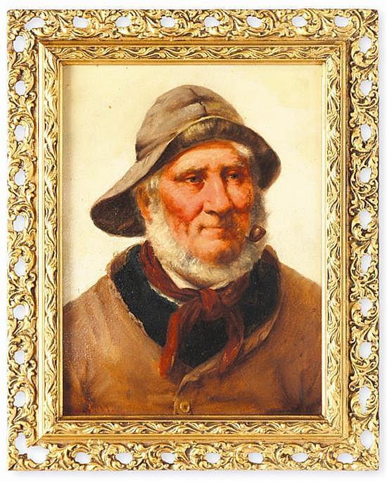 David W. Haddon (act.1884 – 1911). Pescador con pipa y sombrero. Escuela inglesa. Firmado. Óleo sobre tablero. 31 x 23 cm.