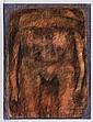 GILBERTO ACEVES NAVARRO, Personaje naranja, Firmado y fechado 17 08 77. Acrílico y carboncillo sobre papel, 65 x 49.5 cm