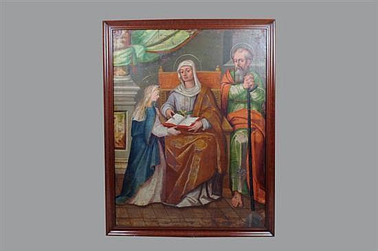 Anónimo. Finales del Siglo XIX. La Virgen María, con Santa Ana y San Joaquín. Óleo sobre lienzo. Enmarcado.