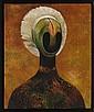 GUILLERMO MEZA, Máscara, Firmado, con monograma y fechado 1961 al frente. Firmado y con monograma al, 80.5 x 66 cm