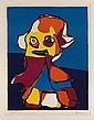 KAREL APPEL, Figura, Firmada y fechada 1969. Serigrafía Epreuve d'Artiste, 65 x 50 cm.