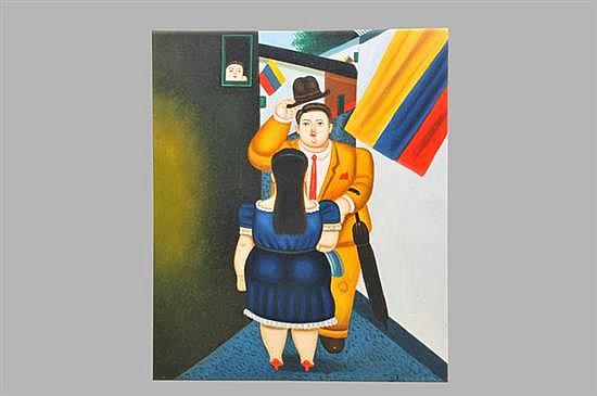 Anónimo. Pareja. (Copia de Fernando Botero). Óleo sobre lienzo. Sin enmarcar, sin firma y sin fechar. Dimensiones: 63 x 51 cm.