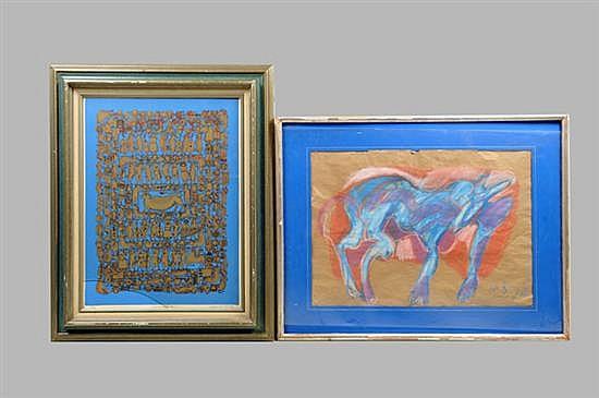 2 Cuadros. Diferentes diseños. Consta de: a) Gilberto Aceves Navarro. Perro elegante. b) Maximino Xavier. Códice Erótico. Piezas: 2