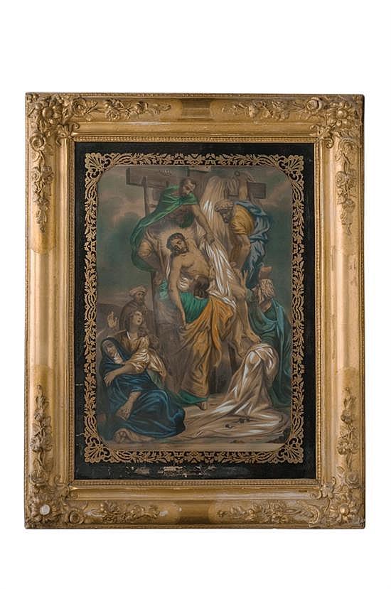 Anónimo. Descendimiento de la cruz. Francia, Siglo XIX. Grabado coloreado a mano. Marialuisa detallada al oro con motivos vegetales.