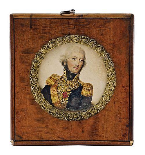 Anónimo. Retrato de militar. Francia, Siglo XIX. Lápices de color sobre papel. Diseño tipo tondo. Marco de madera oscura veteada.