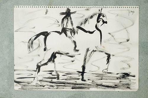 Francisco Icaza. Lote de 4 obras. Tinta china sobre papel. Estas obras pertenecen a la serie