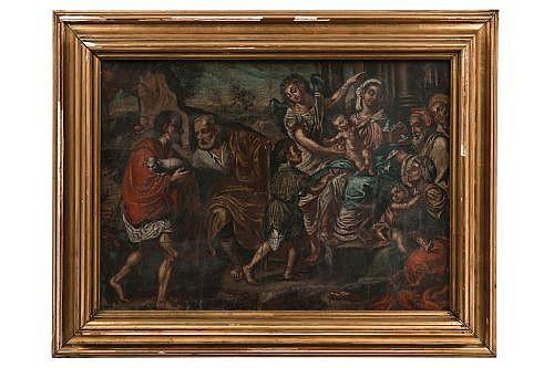 Anónimo. La Adoración de los pastores. Italia, Finales del Siglo XVII. Óleo sobre tela. Detalles de conservación y reentelado.