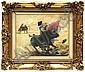Carlos Ruano Llopis (1878 - 1950). El toreo con capote. Escuela española. Firmado. Óleo sobre lienzo. 34.5 x 42.5 cm.