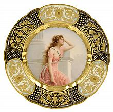 A ROYAL VIENNA CABINET PLATE, YEARNING, SIGNED WAGNER