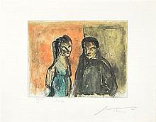 JOSE LUIS CUEVAS, (Mexican, born 1934), Pareja, Hand colored etching, 27/75, Plate: H 10 x W 12 inches. Sheet: H 15½ x W 19½ inches.