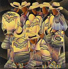 DAVID ORDONEZ, (Guatemalan, born 1951), Solola, 1984, Limited edition 24 color serigraph on paper mounted on masonite panel with tex...