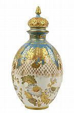 A ROYAL CROWN DERBY PORCELAIN LIDDED BOTTLE VASE