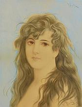 VIRGILIO TOJETTI, (Italian, 1851-1901), Brown Haired Beauty, 1892, Watercolor and gouache on paper, H 16½ x W 12½ inches.