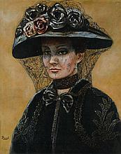 REED, (Early 20th century), Portrait of a Widow, Oil on canvas, H 20 x W 16 inches.
