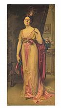 FRENCH SCHOOL, (Late 19th/Early 20th century), Full Length Female Portrait, Oil on canvas, H 85½ x W 41 inches.