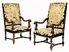 A PAIR OF RENAISSANCE REVIVAL EMBROIDERED WALNUT HALL CHAIRS