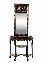 A CHINESE STYLE ROSEWOOD AND MOTHER-OF-PEARL CONSOLE TABLE WITH MIRROR