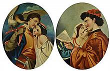ITALIAN SCHOOL, (Late 19th century), A Pair of Romeo and Juliet Oval Portraits, Oil on canvas (two works), H 30½ x W 25 inches.