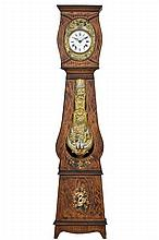 A FRENCH MORBIER STYLE PAINTED TALL CASE CLOCK