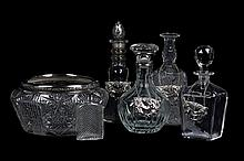 AN ASSEMBLED COLLECTION OF GLASS DECANTERS 6 pieces total