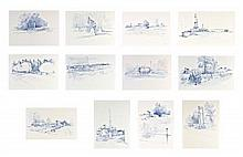 RICHARD SPARK, (American, 20th century), A Collection of Twelve Drawings, Colored pencil on paper, H 20 x W 27½ inches.