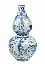 CHINESE BLUE & WHITE PORCELAIN DOUBLE-GOURD VASE
