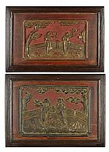 A PAIR OF CHINESE CARVED LACQUER AND PARCEL GILT PANELS