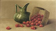 GEORGE McCONNELL, (American, 1852-1929), Still Life, 1908, Oil on wood board, H 9¼ x W 17¼ inches.
