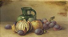 GEORGE McCONNELL, (American, 1852-1929), Still Life, 1908, Oil on wood board, H 10 x W 17½ inches.