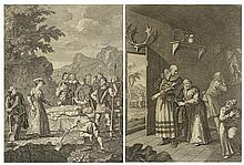 WILLIAM HOGARTH, (British, 1697-1764), The Curate & Barber Disguising Themselves To Convey D. Quixote Home Vol I, p 71, Book 3rd, Ch...