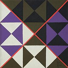 SIDNEY JONAS BUDNICK, (American, 1921-1994), Cosmic Cross No. 8, 1973, Acrylic on board, H 24 x W 24 inches.