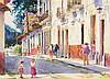 EDITH MASKEY, (American, Texas, 20th century), Puertas de Patzcuaro, Watercolor on paper, H 22 x W 30 inches.