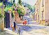 EDITH MASKEY, (American, Texas, 20th century), Companeras de Juego, Watercolor on paper, H 22 x W 30 inches.
