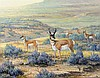 J.W. (Jerry) THRASHER, (American, Texas, born 1940), Sagebrush Wanderers, 2008, Oil on canvas, H 11 x W 14 inches.